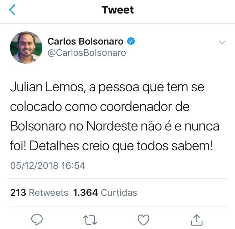 O Globo: Filho de Bolsonaro usa as redes sociais para atacar Julian Lemos